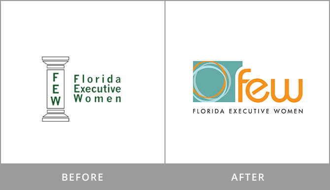 FEW logo rebrand before/after