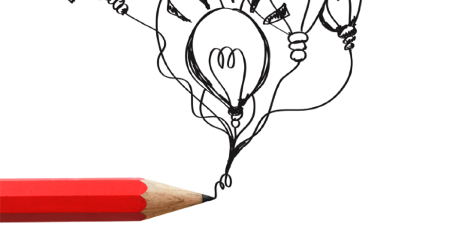 Red pencil drawing lightbulb balloons.