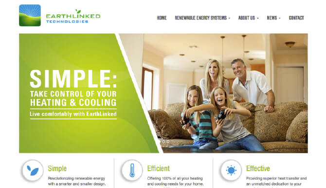 Screen shot of EarthLinked home page of new website.