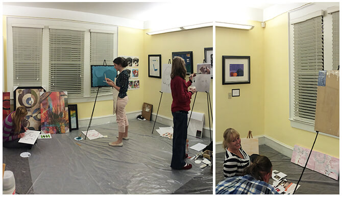 Appleton Creative employees painting pet themed paintings.