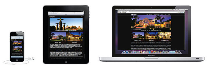 Responsive website on an iphone, tablet, laptop computer.