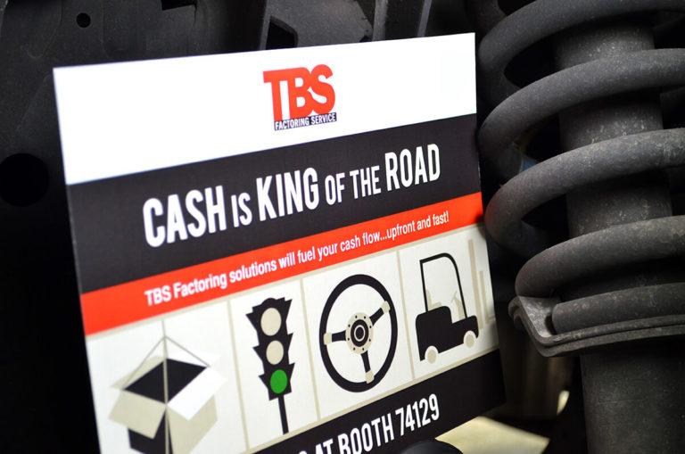 TBS Factoring Services portfolio poster, truck gear