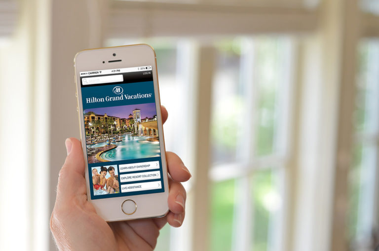 Hilton Grand vacations responsive website on an iPhone