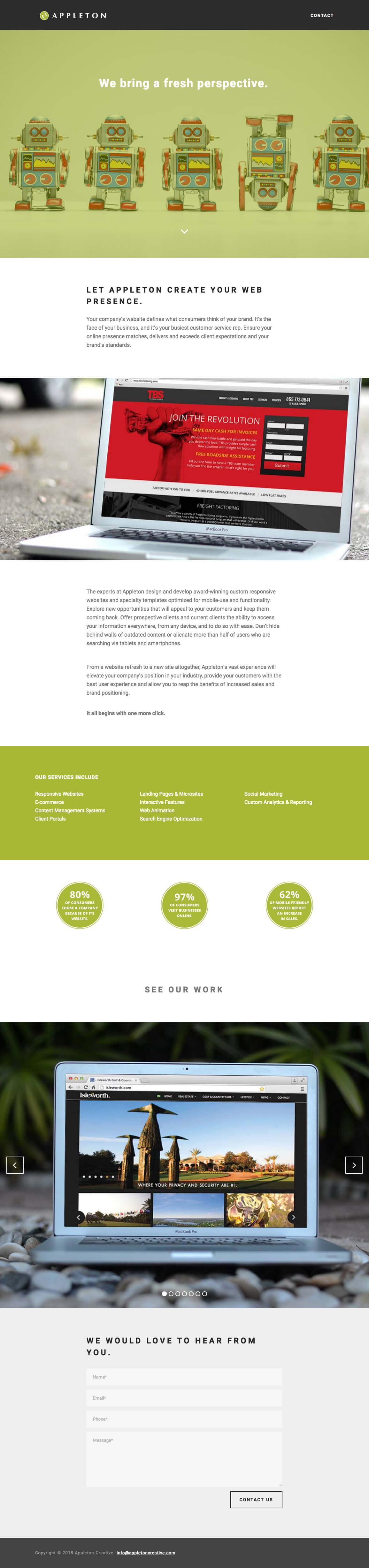 web design landing page design example